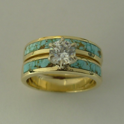 14 Karat Yellow Gold Wedding Set With Turquoise and Diamond