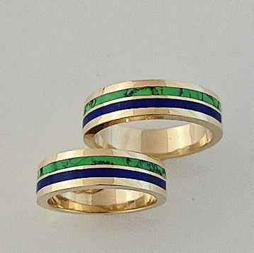 14-Karat-Yellow-Gold-Wedding-Set-with-Natural-Lapis-and-Turquoise-Inlay-by-Southwest-Originals-505-363-7150