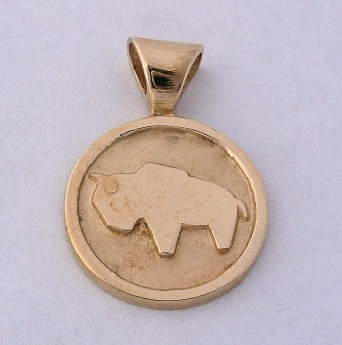 14 karat Gold Buffalo Pendant b by Southwest Originals 505-363-7150