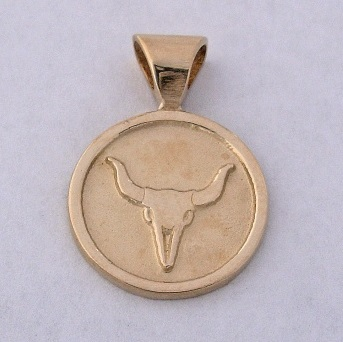 14 karat Gold Steer Skull Pendant by Southwest Originals 505-363-7150