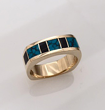 14-karat-Gold-Turquoise-and-Black-Jade-ring by Southwest Originals 505-363-7150