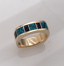 14 karat Gold, Turquoise, and Black Jade ring