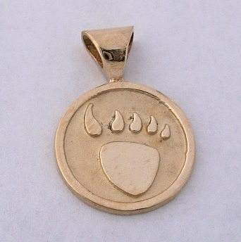 14 karat gold bear paw pendant by Southwest Originals 505-363-7150