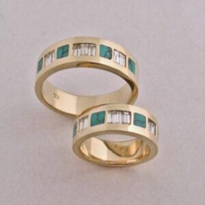 14-karat-yellow-Gold-Turquoise-and-Diamond-Wedding-set-by-Southwest-Originals-505-363-7150