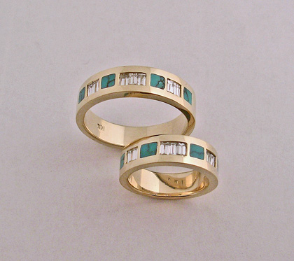 14 karat yellow Gold, Turquoise, and Diamond Wedding set