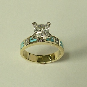 14 karat yellow gold Engagement Ring with Diamond and Natural Turquoise Inlay by Southwest Originals 505-363-7150