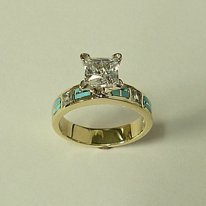 14 karat yellow gold Engagement Ring with Diamond and Natural Turquoise Inlay