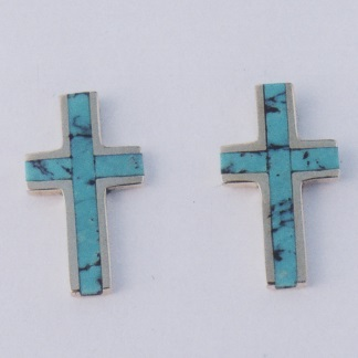 14 karat yellow gold cross earrings with turquoise inlay by Southwest Originals 505-363-7150