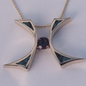 14 karat yellow gold pendant with Amethyst and Turquoise Inlay by Southwest Originals 505-363-7150