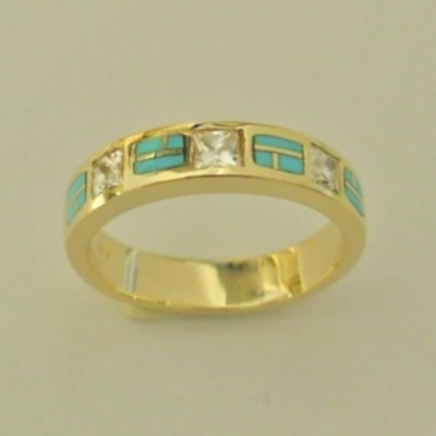 14-karat-yellow-gold-ring-with-Diamonds-and-Natural-Turquoise-Inlay-by-Southwest-Originals