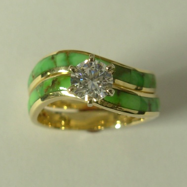 14 karat yellow gold wedding set with 1:2 carat round Diamond and Natural Green Turquoise