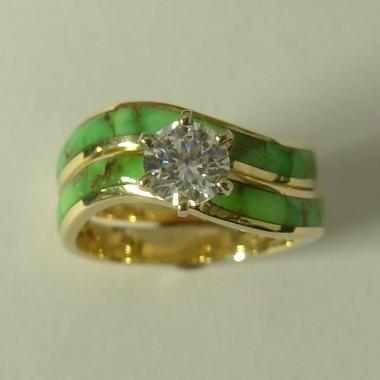 14 karat yellow gold wedding set with 1:2 carat round Diamond and Natural Green Turquoise