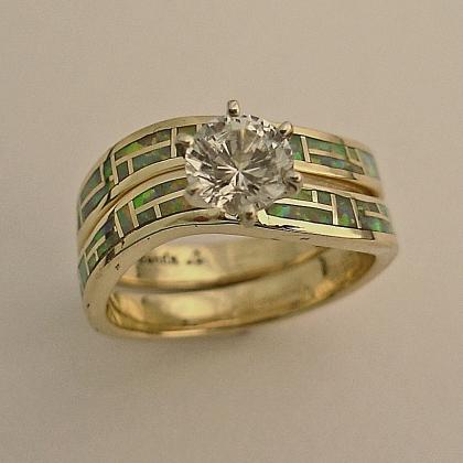 14 karat yellow gold wedding set with Australian Opal inlay and a 1:2 carat round Diamond