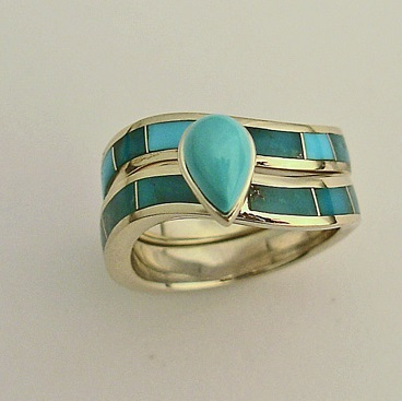 14 karat yellow gold wedding set with natural Turquoise inlay and a natural Turquoise center stone.
