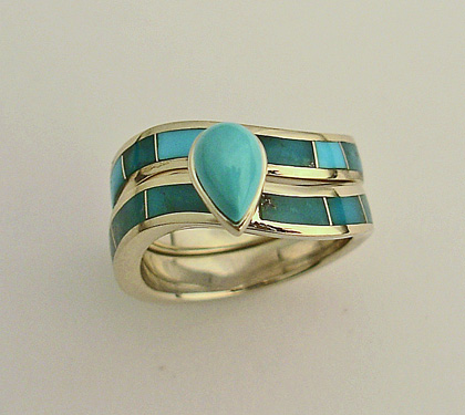 14 karat yellow gold wedding set with natural Turquoise inlay and a natural Turquoise center stone