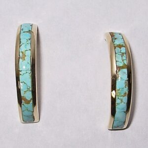 14 karat yellow gold with natural turquoise earrings by Southwest Originals 505-363-7150