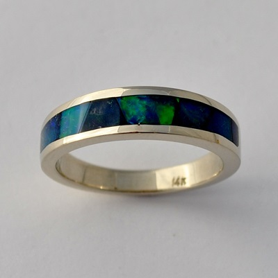 Ethiopian Opal Inlay Ring by Southwest Originals 505-363-7150