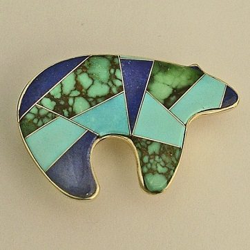 Gold Bear Pin - Pendant with Inlayed Turquoise by Southwest Originals 505-363-7150