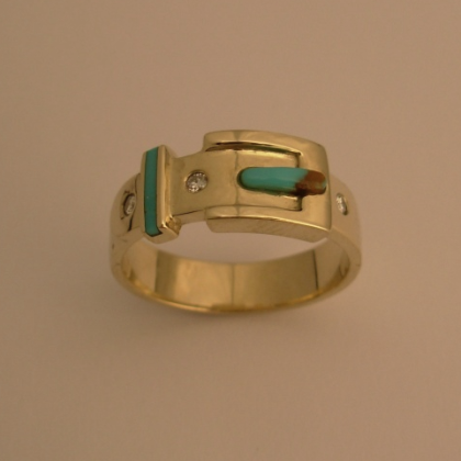 Gold Belt Ring With Diamonds and Turquoise Inlay