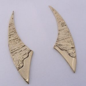 Gold Crescant Shape Earrings by Southwest Originals 505-363-7150