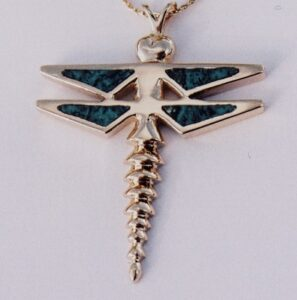 Gold Dragonfly Pendant with Turquoise Inlay by Southwest Originals 505-363-7150