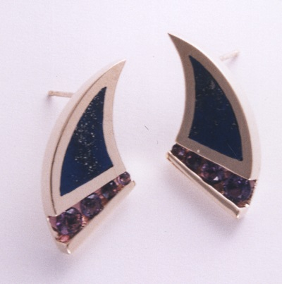Gold Earrings With Amethyst and Lapis Inlay by Southwest Originals 505-363-7150