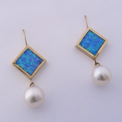 Gold Earrings With Pearl and Blue Lab Opal Inlay by Southwest Originals 505-363-7150