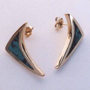 Gold Earrings With Turquoise Inlay by Southwest Originals 505-363-7150