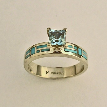 Gold Engagement Ring with Aquamarine and Turquoise Inlay by Southwest Originals 505-363-7150