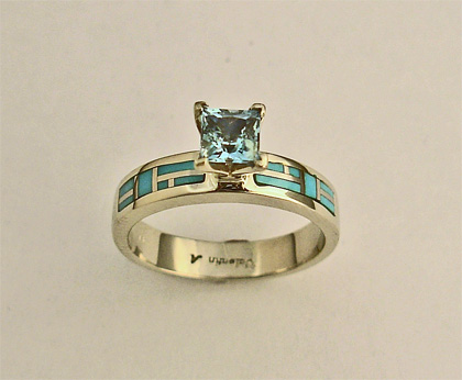 Gold Engagement Ring with Aquamarine and Turquoise Inlay