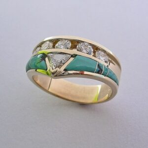 Gold Engagement Ring with Diamond and Turquoise by Southwest Originals 505-363-7150