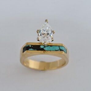 Gold Engagment ring with Pear Shape Diamond by Southwest Originals 505-363-7150