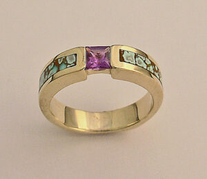Gold-Ladies-Ring-With-Purple-Sapphire-and-Turquoise-Inlay by Southwest Originals 505-363-0751