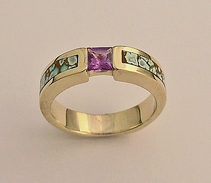 Gold Ladies Ring With Purple Sapphire and Turquoise Inlay