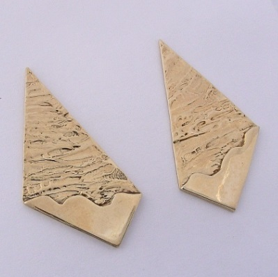 Gold Necktie Shape Earrings by Southwest Originals 505-363-7150