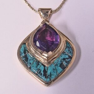 Gold Pendant with Amethyst and Turquoise Inlay by Southwest Originals 505-363-7150