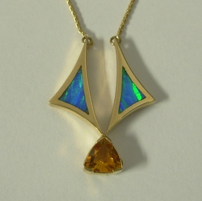 Gold Pendant with Citrine and Lab Blue Opal on Chain by Southwest Originals 505-363-7150