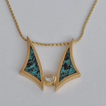 Gold Pendant with Diamond and Turquoise Inlay on Gold Chain by Southwest Originals 505-363-7150
