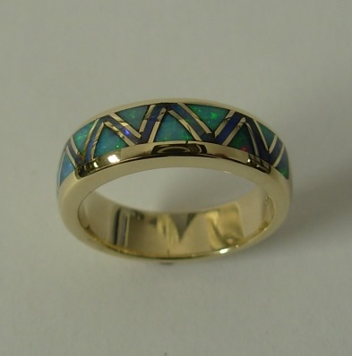 Gold Ring With Opal Inlay by Southwest Originals 505-363-7150