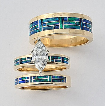 Gold Trio Wedding Set With a Marquise Diamond by Southwest Originals 505-363-7150