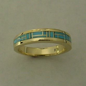 Gold Turquoise Wedding Band by Southwest Originals 505-363-7150
