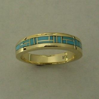 Gold Turquoise Wedding Band by Southwest Originals 505-363-7150