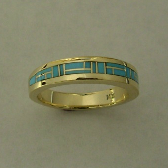 Gold Turquoise Wedding Band