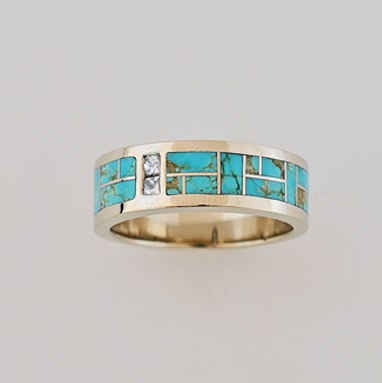 Gold, Turquoise and Diamond band by Southwest Originals 505-363-7150