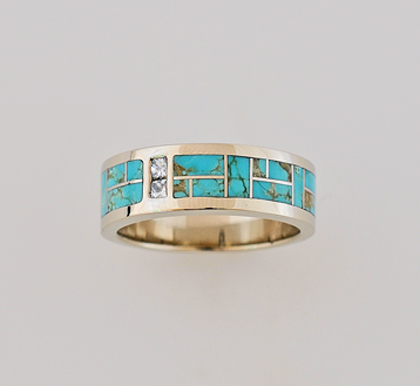 Gold, Turquoise and Diamond band