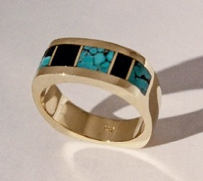 Gold, Turquoise and Jet Inlay Ring #G0139