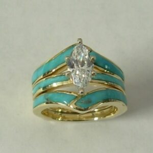 Gold Wedding Set with Natural Turquoise Inlay and Featuring a Marquise Center Stone by Southwest Originals 505-363-7150