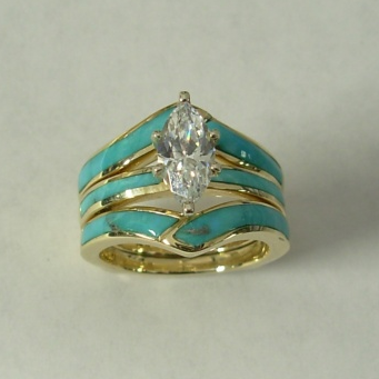 Gold Wedding Set with Natural Turquoise Inlay and Featuring a Marquise Center Stone