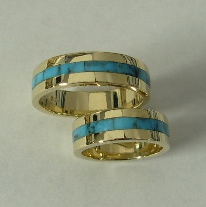 Gold-Wedding-Set-with-Turquoise-Inlay-by-Southwest-Originals-505-363-7150