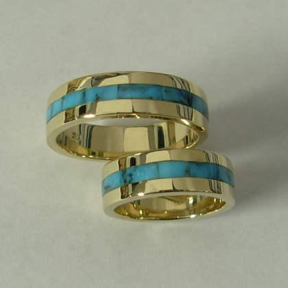 Gold Wedding Set with Turquoise Inlay